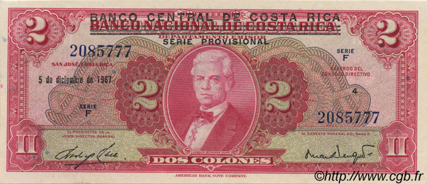2 Colones COSTA RICA  1967 P.235 SPL