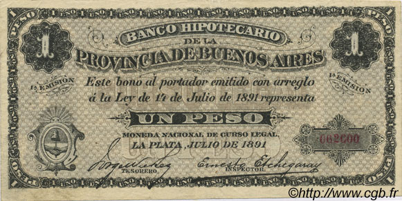 1 Peso ARGENTINE  1891 PS.0615 SUP