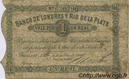1 Real Plata Boliviana ARGENTINE  1866 PS.1731 B