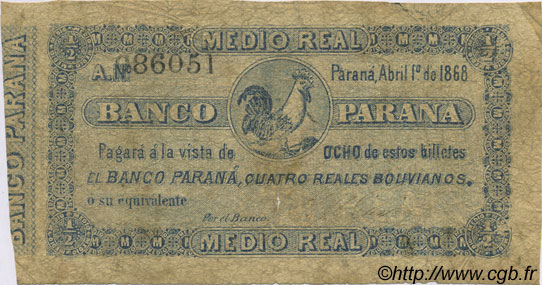 1/2 Real Boliviano ARGENTINE  1868 PS.1811a B