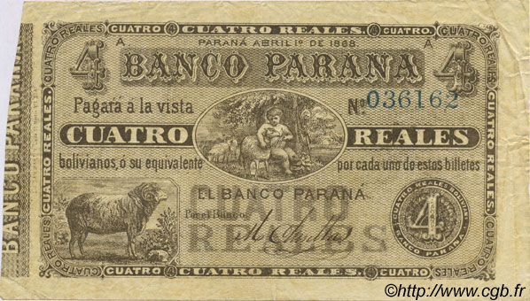 4 Reales Bolivianos ARGENTINE  1868 PS.1814a TTB+