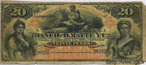20 Pesos CHILI  1888 PS.279r B+