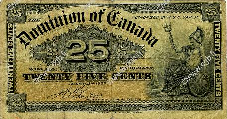 25 Cents CANADA  1900 P.009b TB