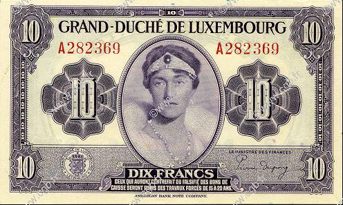 10 Francs LUXEMBOURG  1944 P.44a SPL+