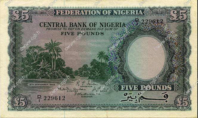 5 Pounds NIGERIA  1958 P.05 TTB