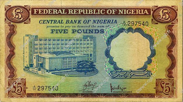 5 Pounds NIGERIA  1968 P.13a TB