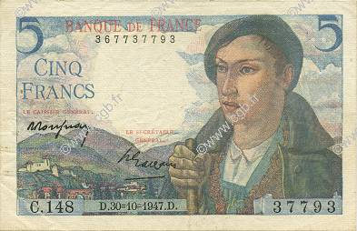 5 Francs BERGER FRANCE  1947 F.05.07 SUP