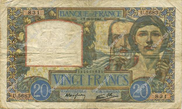 20 Francs SCIENCE ET TRAVAIL FRANCE  1941 F.12.18 TB+