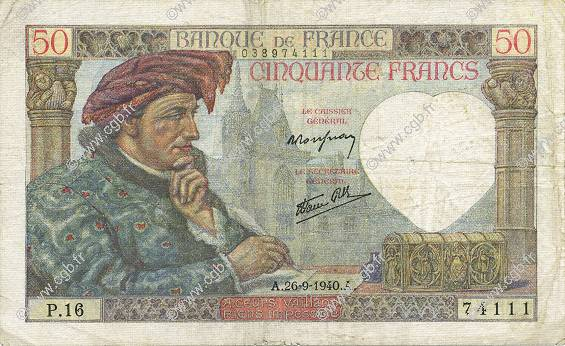 50 Francs JACQUES CŒUR FRANCE  1940 F.19.03 TB