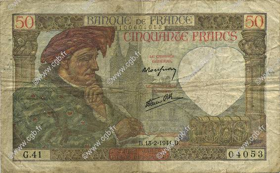50 Francs JACQUES CŒUR FRANCE  1941 F.19.06 B