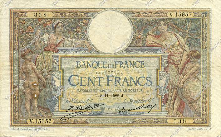 100 Francs LUC OLIVIER MERSON grands cartouches FRANCE  1926 F.24.05 TB