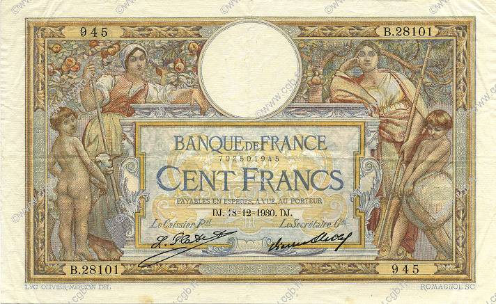 100 Francs LUC OLIVIER MERSON grands cartouches FRANCE  1930 F.24.09 pr.SUP
