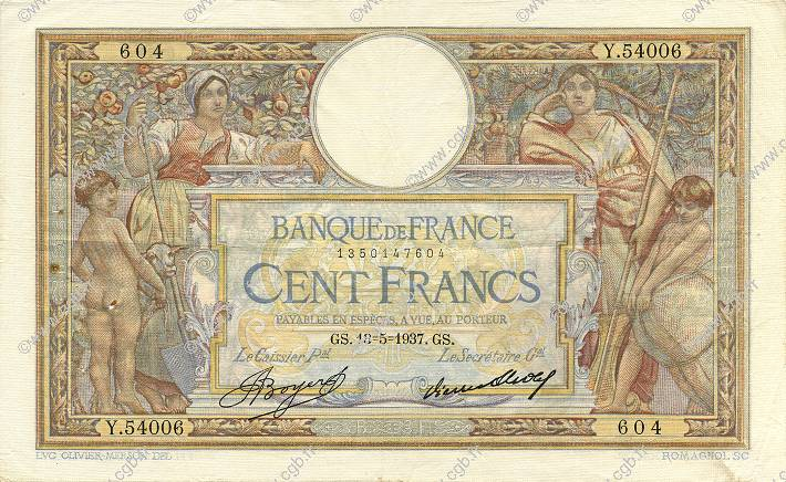 100 Francs LUC OLIVIER MERSON grands cartouches FRANCE  1937 F.24.16 TTB+