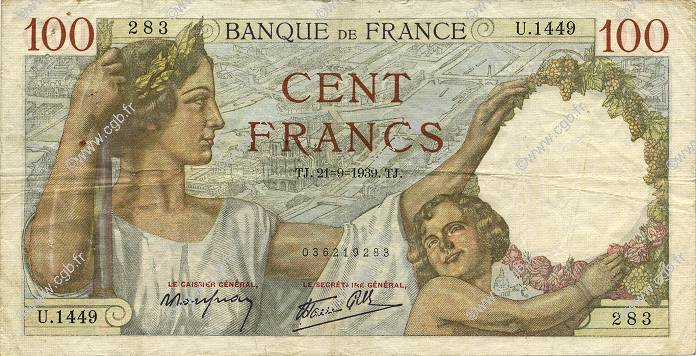 100 Francs SULLY FRANCE  1939 F.26.07 TB+