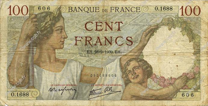 100 Francs SULLY FRANCE  1939 F.26.08 B