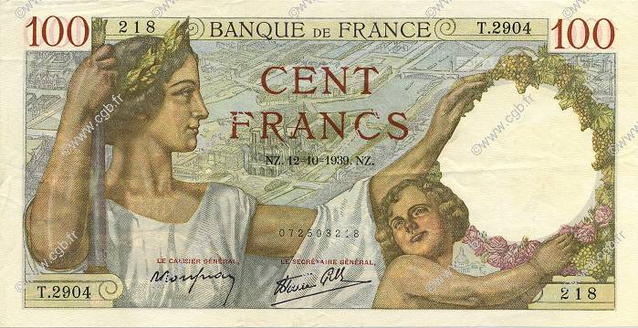 100 Francs SULLY FRANCE  1939 F.26.10 SUP