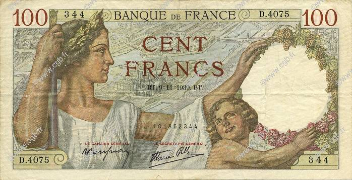 100 Francs SULLY FRANCE  1939 F.26.14 TTB