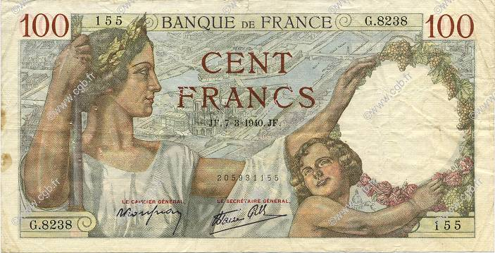 100 Francs SULLY FRANCE  1940 F.26.24 pr.TTB