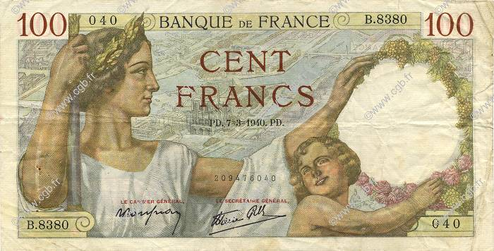 100 Francs SULLY FRANCE  1940 F.26.24 TTB