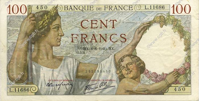 100 Francs SULLY FRANCE  1940 F.26.31 TTB