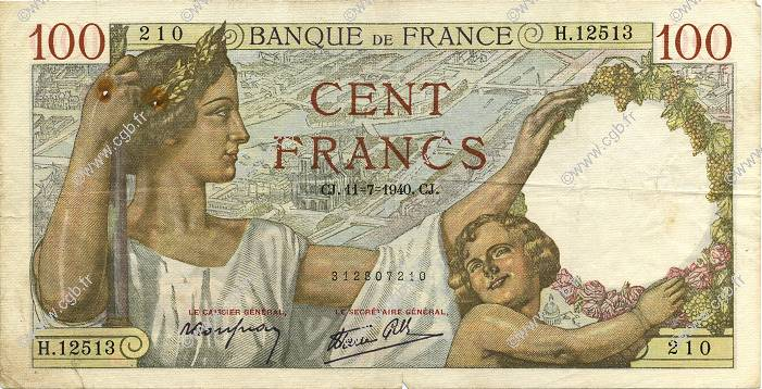 100 Francs SULLY FRANCE  1940 F.26.33 TB à TTB