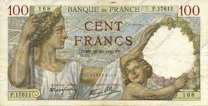 100 Francs SULLY FRANCE  1940 F.26.43 pr.TTB