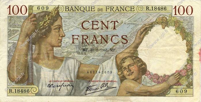 100 Francs SULLY FRANCE  1941 F.26.45 TTB
