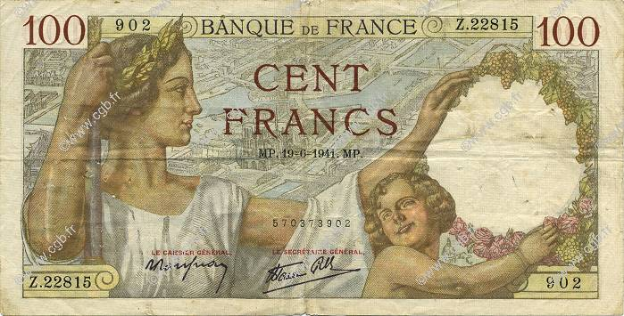 100 Francs SULLY FRANCE  1941 F.26.54 TB