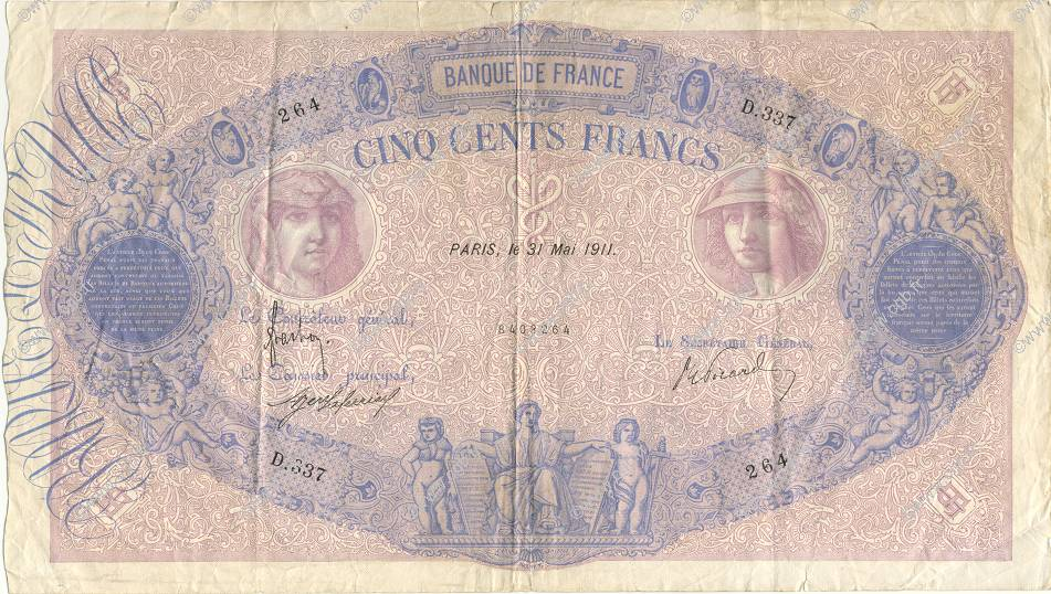 500 Francs BLEU ET ROSE FRANCE  1911 F.30.19 pr.TTB