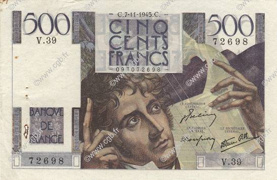 500 Francs CHATEAUBRIAND FRANCE  1945 F.34.03 SPL