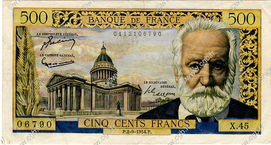 500 Francs VICTOR HUGO FRANCE  1954 F.35.03 pr.TTB
