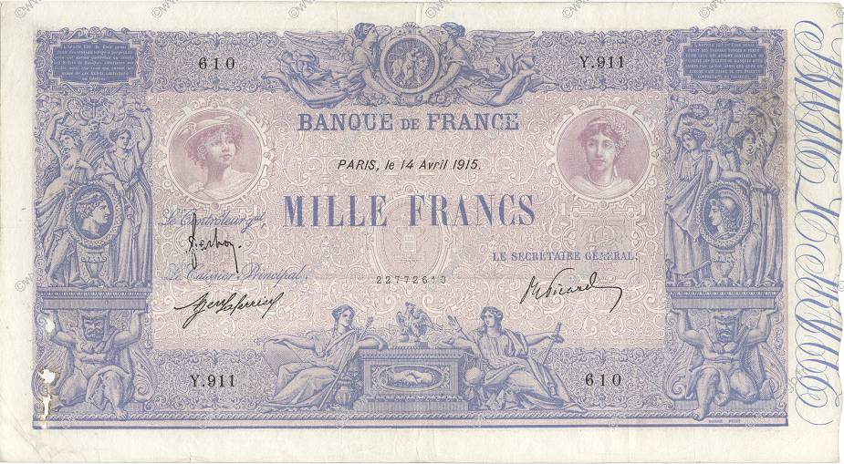 1000 Francs BLEU ET ROSE FRANCE  1915 F.36.29 TB+