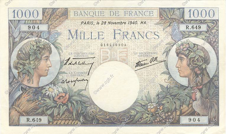 1000 Francs COMMERCE ET INDUSTRIE FRANCE  1940 F.39.02 TTB+