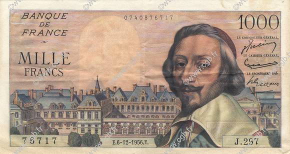 1000 Francs RICHELIEU FRANCE  1956 F.42.24 SUP