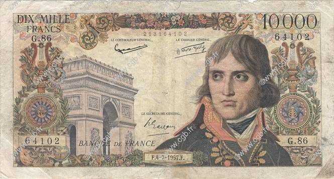 10000 Francs BONAPARTE FRANCE  1957 F.51.09 pr.B