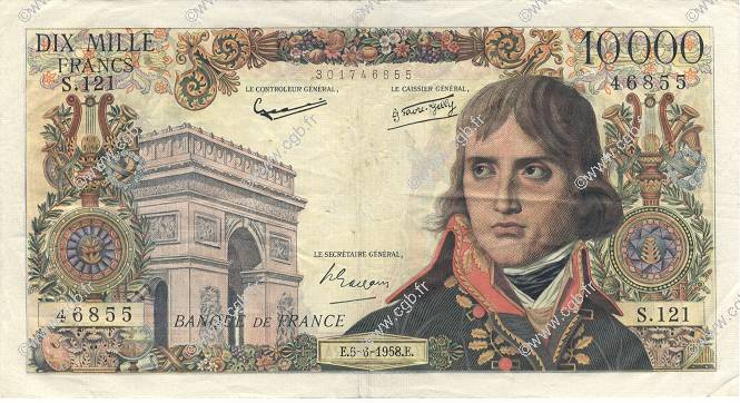 10000 Francs BONAPARTE FRANCE  1958 F.51.12 TTB