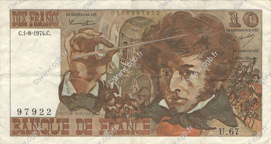 10 Francs BERLIOZ FRANCE  1974 F.63.06