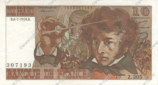 10 Francs BERLIOZ FRANCE  1978 F.63.24 SUP