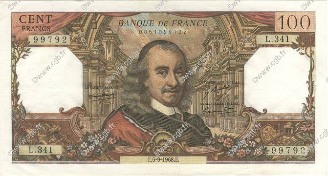 100 Francs CORNEILLE FRANCE  1968 F.65.23 SUP