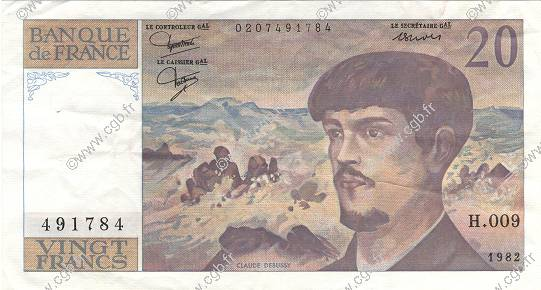20 Francs DEBUSSY FRANCE  1982 F.66.03 pr.SUP