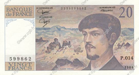 20 Francs DEBUSSY FRANCE  1984 F.66.05 SPL