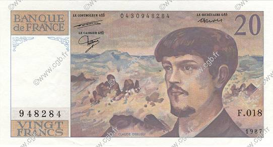 20 Francs DEBUSSY FRANCE  1987 F.66.08 SPL+