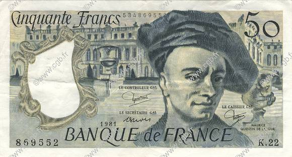 50 Francs QUENTIN DE LA TOUR FRANCE  1981 F.67.07 pr.SUP