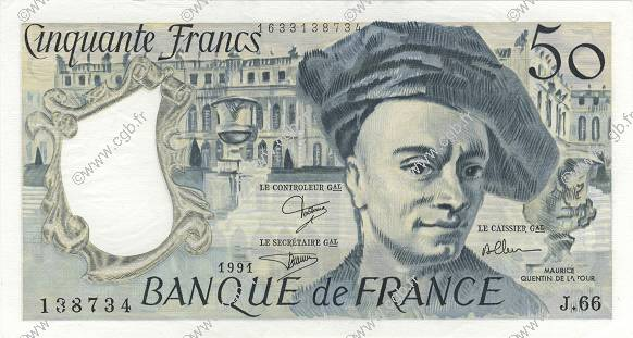 50 Francs QUENTIN DE LA TOUR FRANCE  1991 F.67.17 SUP+