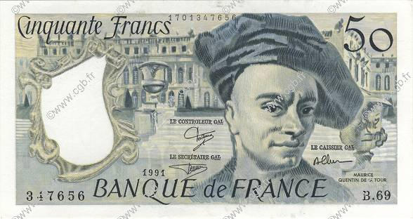 50 Francs QUENTIN DE LA TOUR FRANCE  1991 F.67.17 SPL+