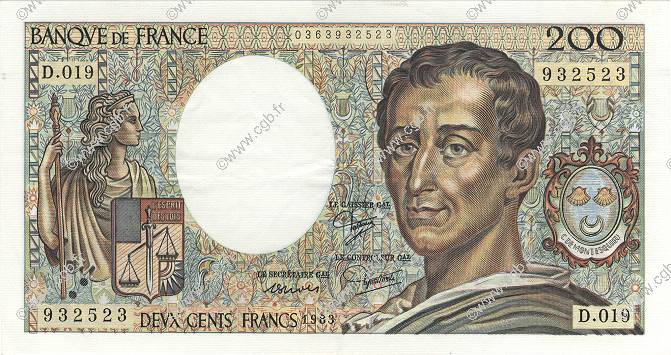 200 Francs MONTESQUIEU FRANCE  1983 F.70.03 SUP+