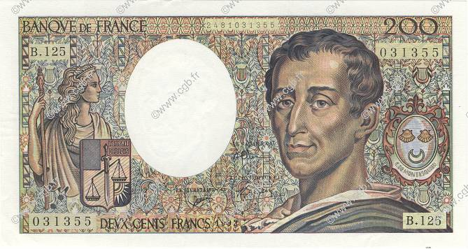 200 Francs MONTESQUIEU FRANCE  1992 F.70.12b pr.SPL