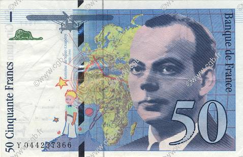 50 Francs SAINT-EXUPÉRY modifié FRANCE  1997 F.73.04 SUP
