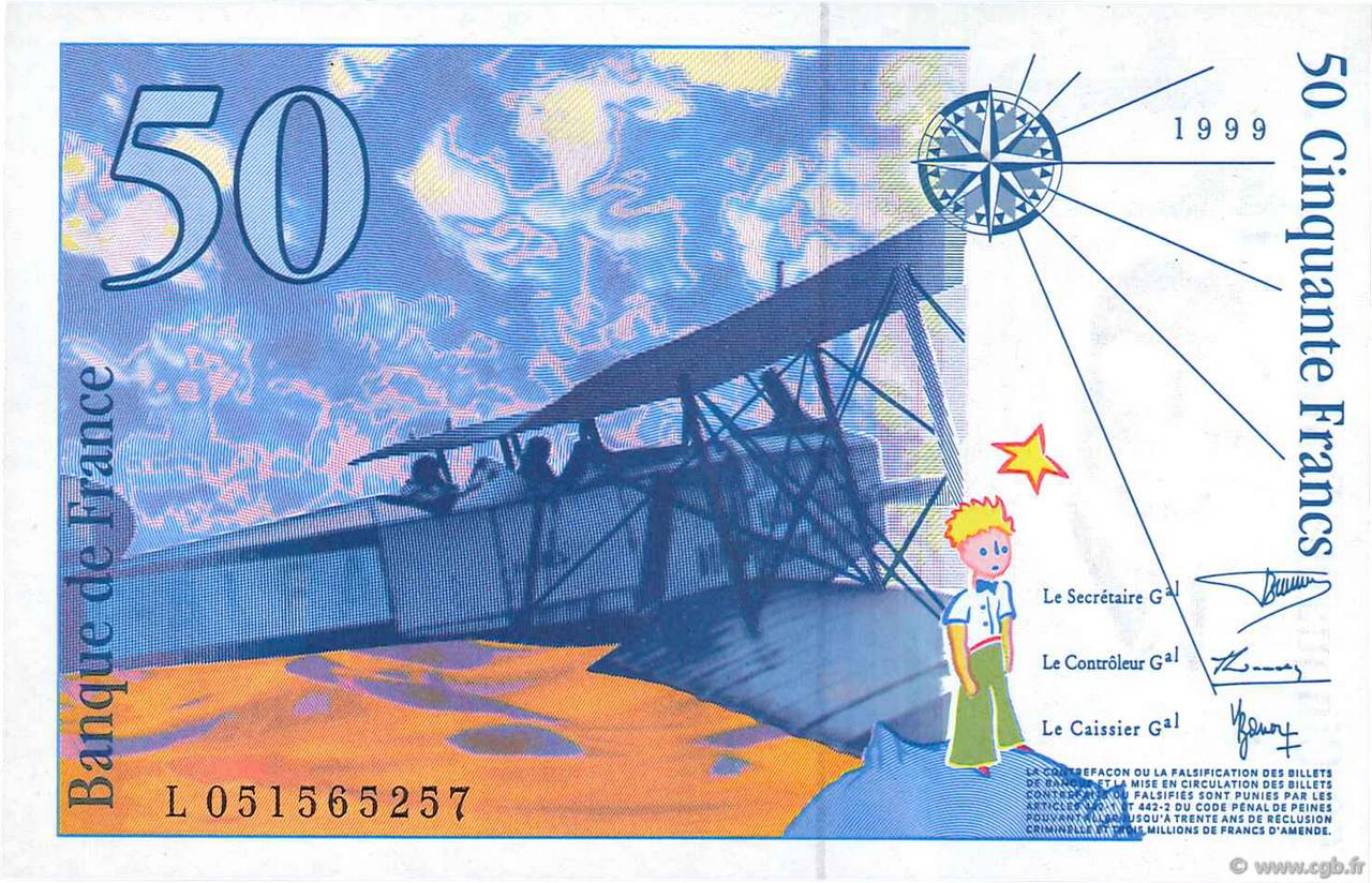 FRANCE 50 Francs SAINT-EXUPÉRY Modifié-1999