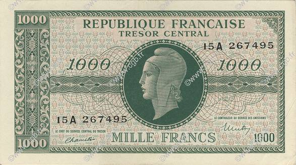 1000 Francs MARIANNE chiffres gras FRANCE  1945 VF.12.01 SUP+